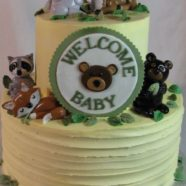 Woodland animals shower cake