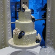 Purple cala lilies Wedding cake in Muskoka