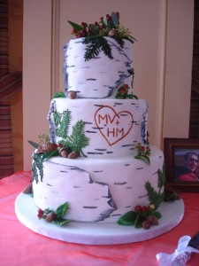 Birch Bark wedding cake